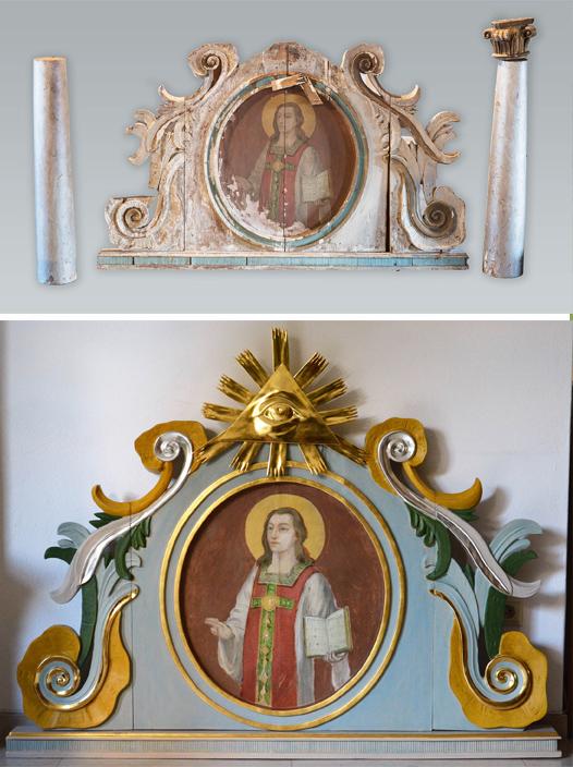 Zabytkowy ołtarz przed konserwacją i po. Fot. J. Czerwiński, P. Romanowski / MZKiD
