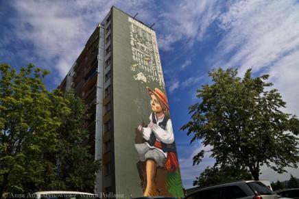 Obok dziewczynki pojawił się chłopiec. Nowy mural w Białymstoku