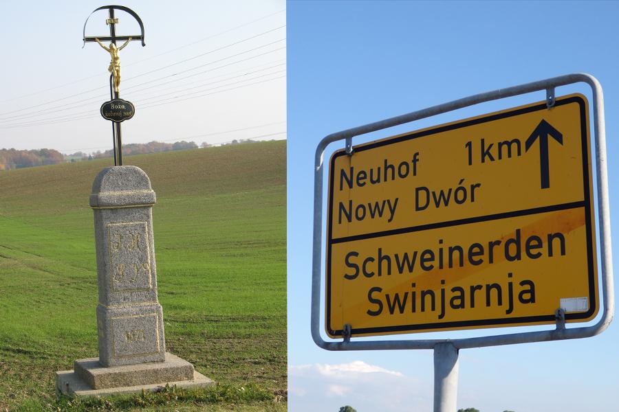 Na zdjęciu: Krzyż przydrożny, katolickie Łużyce / przykład dwujęzycznego szyldu, fot. Justyna Michniuk
